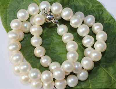 gorgeous 9-10mm south sea round white pearl necklace 18inch 925sgorgeous 9-10mm south sea round white pearl necklace 18inch 925s