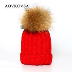 Aovkovsa 2017 mink fox fur ball knitted winter hat for women girl s pom poms beanies.jpg 250x250