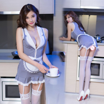 2019 Sexy Lingerie Cosplay High Quality Apron Maid Sexy Costume Babydoll Dress Uniform Women Lace Miniskirt Outfit 1