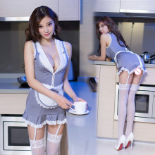 2019 High Quality Sexy Lingerie Apron Maid Cosplay Sexy Babydoll Costume Dress Outfit Uniform, Women Lace Mini Skirt