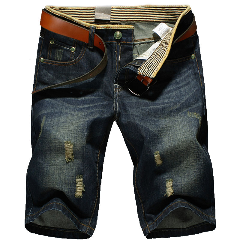 Large Size Jeans Shorts Men Fashion Design Hole Mens Shorts Classic Comfort Blue Large S ...