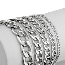 Maxmoon Mens Bracelet Chain Polished Stainless Steel Silver Color Chains Bracelet for Men Cuban Link 3/5/7/9/11mm(China)