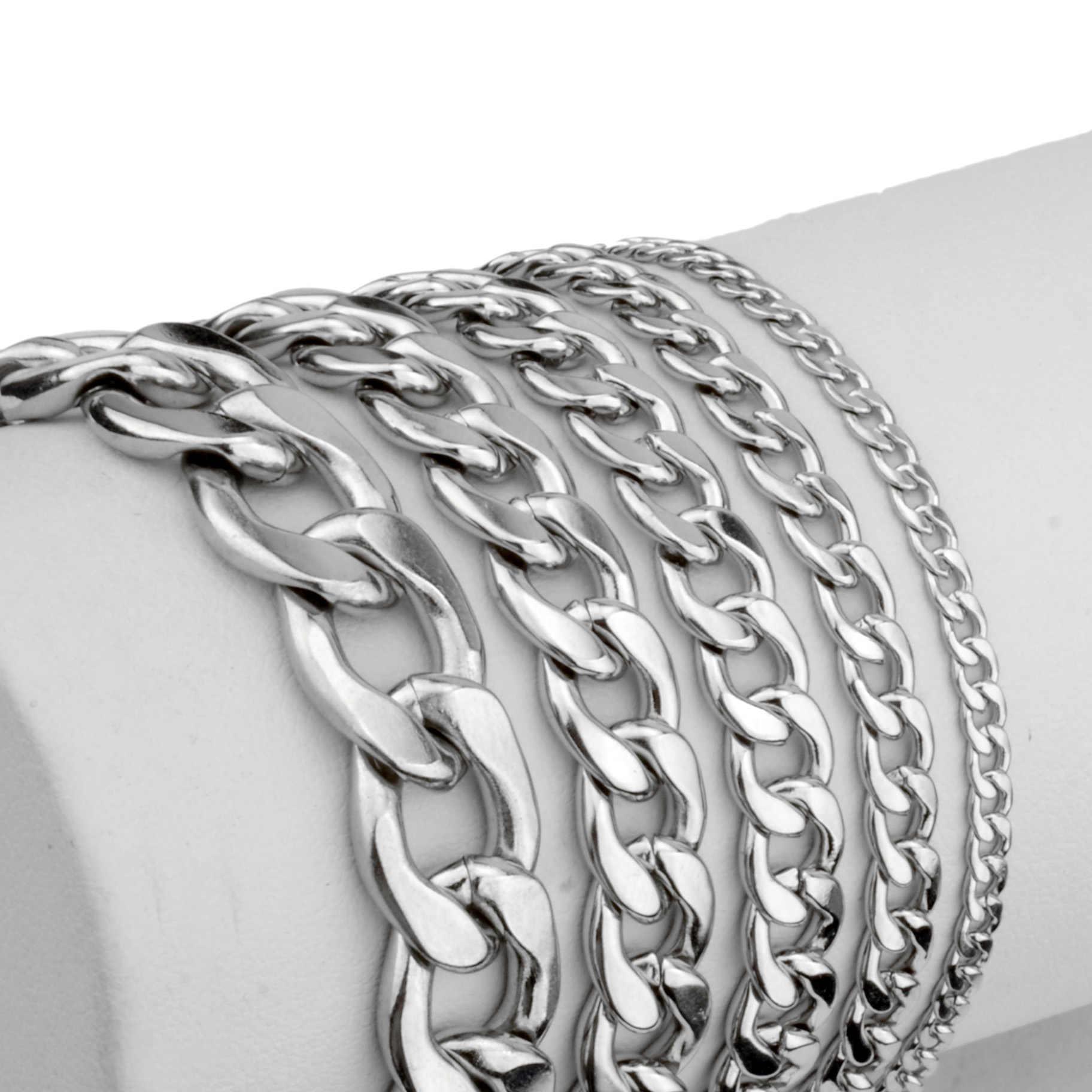 Maxmoon bransoletka męska łańcuch polerowana stal nierdzewna kolor srebrny łańcuchy bransoletka dla mężczyzn kubański Link 3/5/7/9/11mm