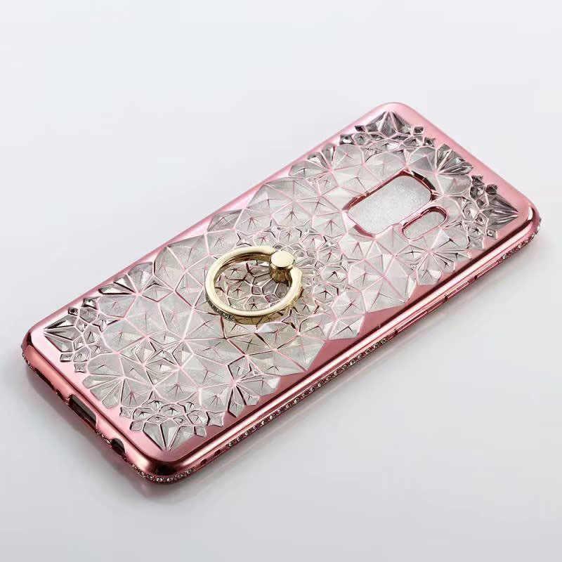 ברור 3D פרח גליטר טלפון מקרה עבור סמסונג הערה 10 S10 S9 בתוספת S7 קצה הערה 9 8 מקרה TPU טבעת יהלומים רך סיליקון מכסה