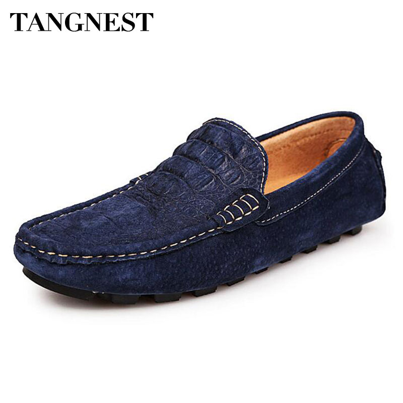 Tangnest Brand NEW 2017 Men Loafers Split Leather Crocodile Pattern Flats Men Soft Driving Shoes Moccasins Size 38~44 XMR2603 split leather dot men casual shoes moccasins soft bottom brand designer footwear flats loafers comfortable driving shoes rmc 395
