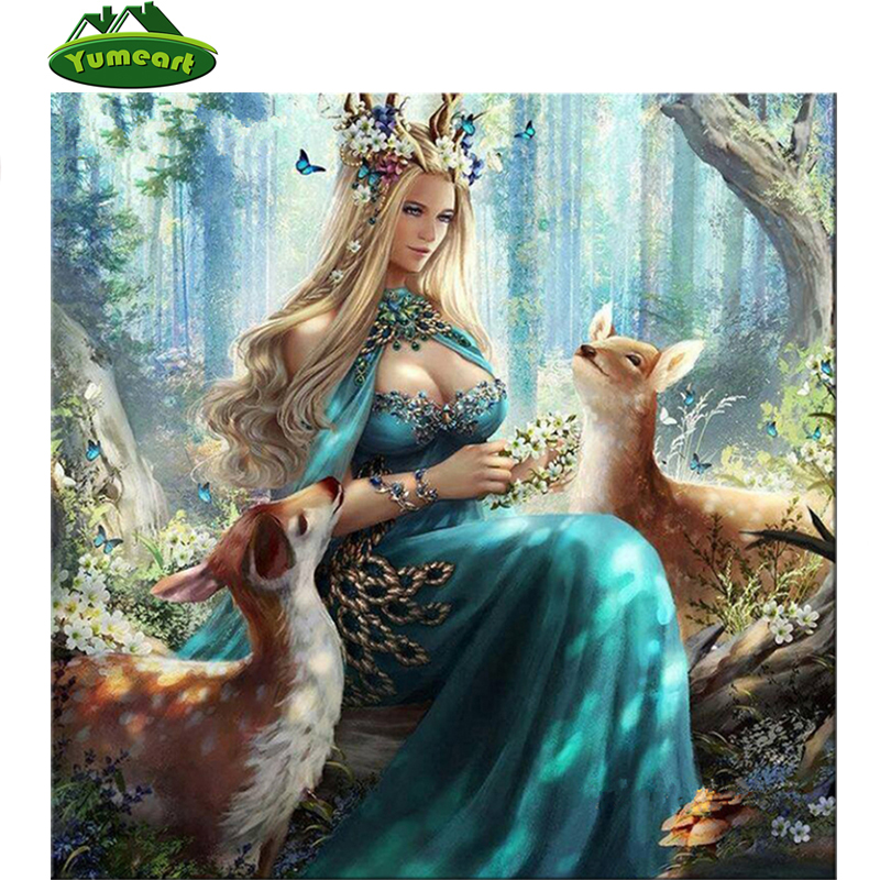 5D DIY <font><b>Diamond</b></font> <font><b>Painting</b></font> <font><b>Cross</b></font> <font><b>Stitch</b></font> <font><b>Sex</b></font> Fairy Beauty and Deer Animals <font><b>Diamond</b></font> Embroidery Pattern Square <font><b>Diamond</b></font> Mosaic Kits image
