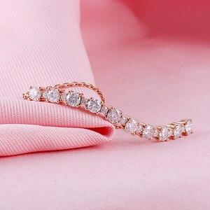 Image 4 - Transgems Katı 18 K 750 Gül Altın Ayarlanabilir Zincir Bilezik Kadınlar için Düğün 2.3CTW F Renk 4 MM ve 2 MM Moissanite Bilezikler