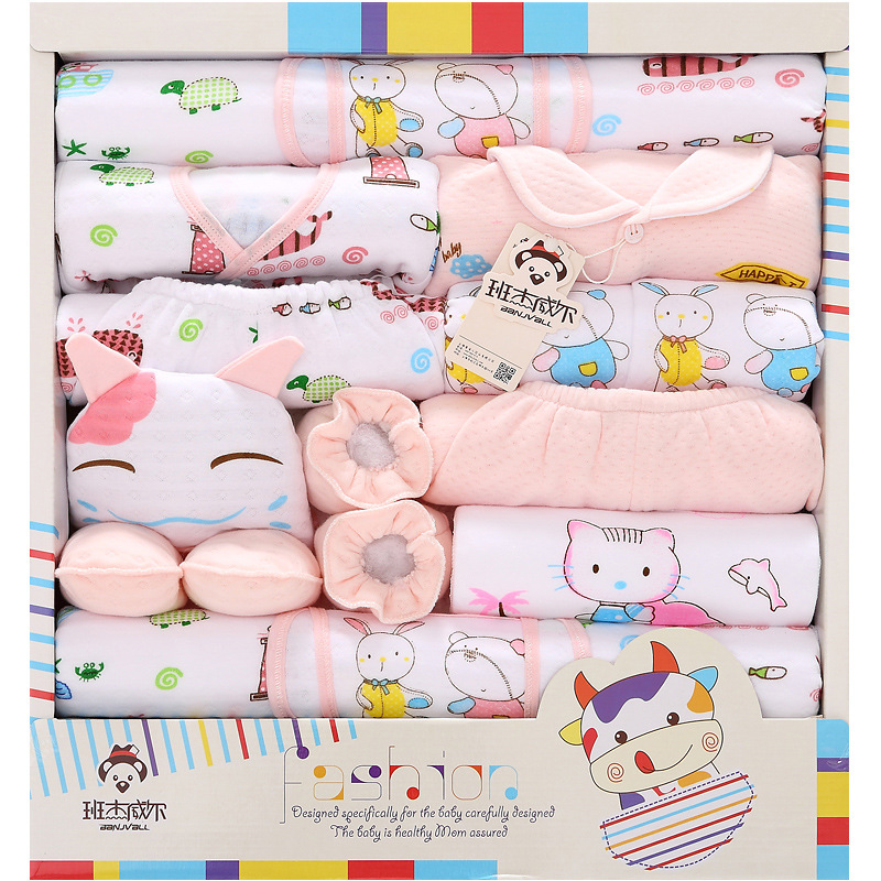 18 Pcs/lot Cartoon Thick Newborn Baby gift Sets Infant Clothing Unisex baby boy and girl Suits Baby Outfits For 0-6 Month Wear