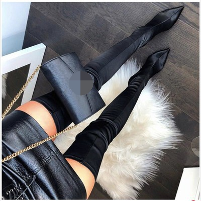 Design Sexy Women's Fashion Point Toe Elastic Stiletto Shoes Over The Knee Boots Thigh Long High Heel Boots Party Shoes