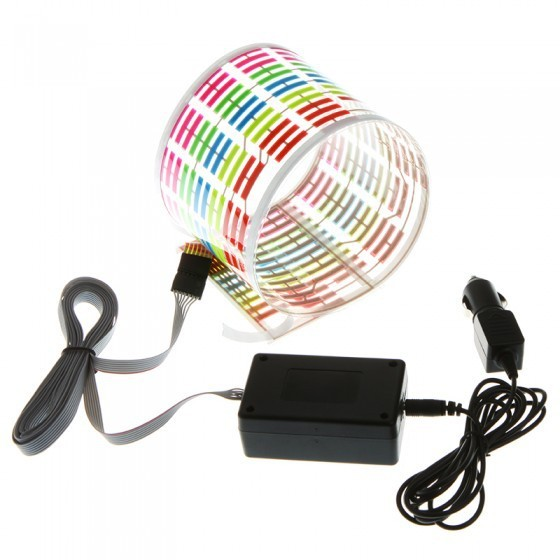 45 cm * 11 cm Colourful Flash Sticker Music Rhythm LED EL Sheet Light Lamp Sound Music Activated Equalizer car Stickers