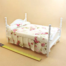 1pcs 1/12 Dollhouse white bed Wooden Furniture toy Miniature simulation bedroom pretend play toys for children girls dolls new(China)