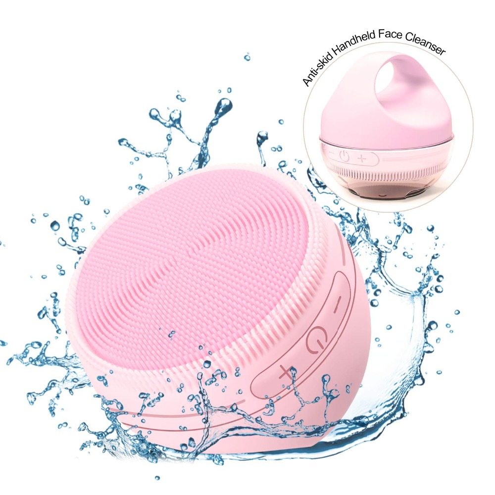 New Facial Face Cleansing Brush Mini 2 Silicone Electric Facial Cleaning Brush Remove Blackhead Pore Cleanser With Warm Cleaning-in Face Skin Care Tools from Beauty & Health    1