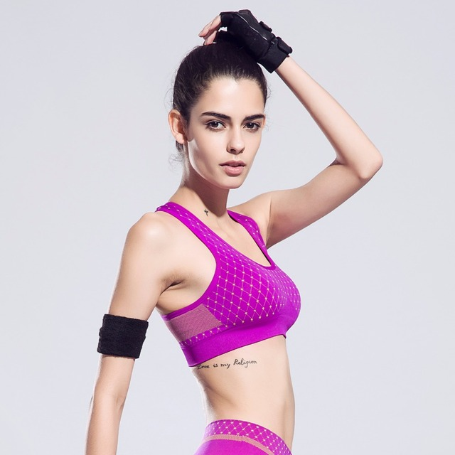 High Elastic Sports Bra Y Straps Seamless Shockproof Push Up Quick Dry Fitness Yoga Breathable Bras