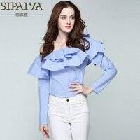SIPAIYA 2017 One Shoulder Ruffles Blouse Shirt Women Tops 2017 Spring Summer Casual Blue Striped Shirt