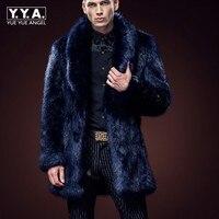 Зимняя мода Для мужчин S из искусственного лисьего Мех животных пальто Уплотненные теплые пальто большой меховой воротник Для мужчин пальт