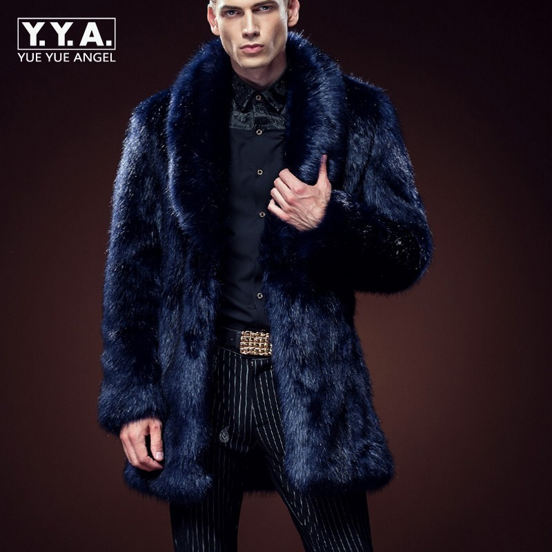 Winter Fashion Mens Faux Fox Fur Coat Thick Warm Jackets