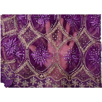 2018 New Fashion Designs African Lace Purple Color Bridal Lace Trim With Plenty Stones And Pearls African Dresses For Women 952