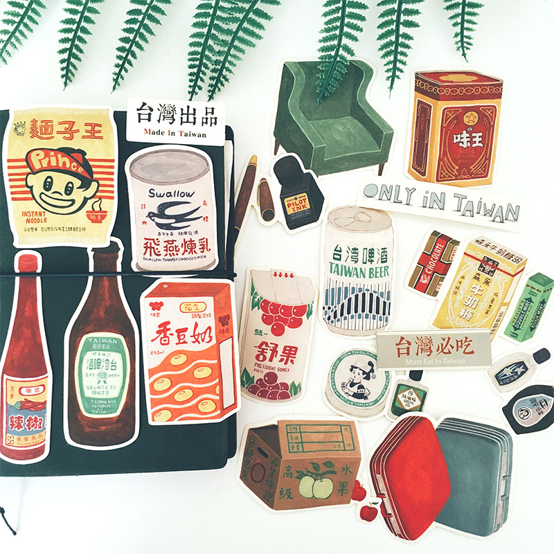 Taiwanese style vintage old food poster ads themed white matte stickers  Die Cut Stickers waterproofing 18pcspack
