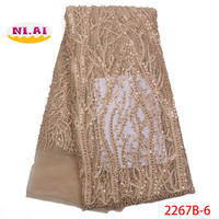 Latest Gold Color Wedding &Party Net Lace Fabric With Sequins Nigerian Hand Beaded Lace Fabric For Women Bridal Dress NA2267B 2