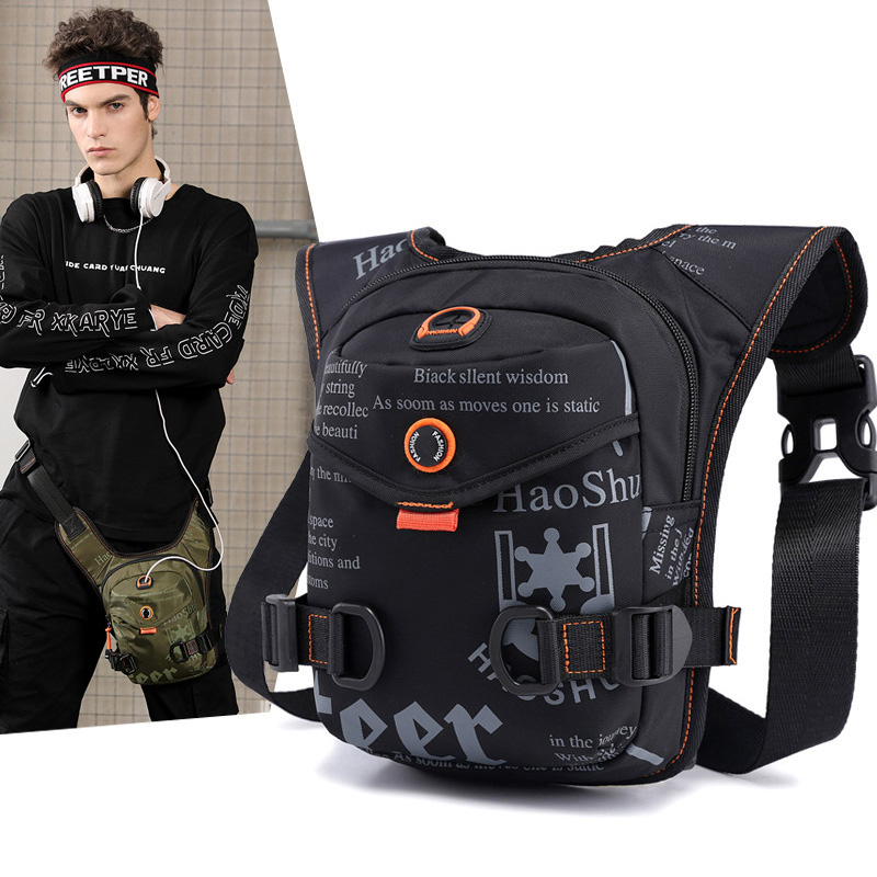 Men Waterproof Nylon Drop Leg Bags Thigh Hip Bum Belt Bag Waist Fanny Pack Boys Travel Riding Motorcycle Crossbody Shoulder Bags