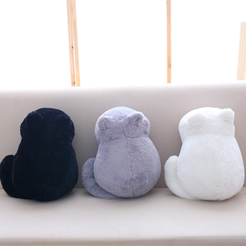 Kawaii Plush Cat Toys Staffed Cute Shadow Cat Dolls Kids Gift Doll Lovely Animal Toys 3 Colors Home Decoration Soft Pillows 1pc 16cm mini kawaii animal plush toy cute rabbit owl raccoon panda chicken dolls with foam partical kids gift wedding dolls