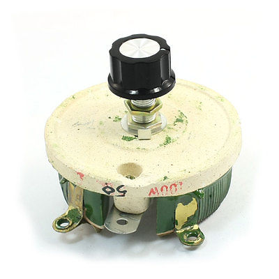 100W 50 Ohm Ceramic Potentiometer Variable Taper Pot Resistor Rheostat 2pcs la42dwq 22 22mm 1k 2k 5k 10k ohm variable speed drive potentiometer vsd pot