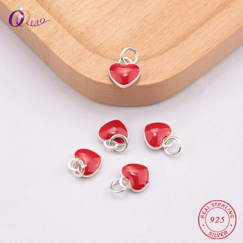 1PCS 925 Sterling-Silver Epoxy craft red Love heart Pendant for Jewelry making Necklace bracelet DIY, jewelry findings