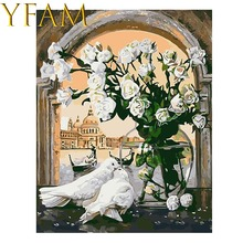 Pigeon Kiss And White Flowers Painting By Numbers DIY Hand Paint Acrylic Drawing Linen Canvas Modern Decorative Wall Picture