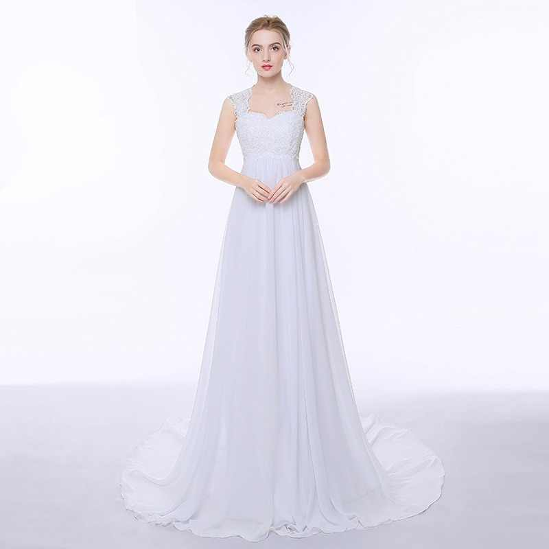 ADLN Elegant Chiffon Beach Wedding Dresses Simple Empire Sweep Train Open Back Boho Plus Size Bridal Gown for Pregnant Woman