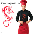 3 Pcs Hotel Chef Uniform with Apron Hat Male Restaurant Kitchen Chinese Cooking Wear Dragon Cook Outfit Men Service Clothes 8