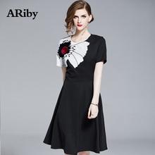 купить Women Party Dress ARiby 2019 New Fashion Casual Black Dress Short Sleeve High Waist O-Neck Print Slim Knee-Length A-Line Dress по цене 1546.87 рублей