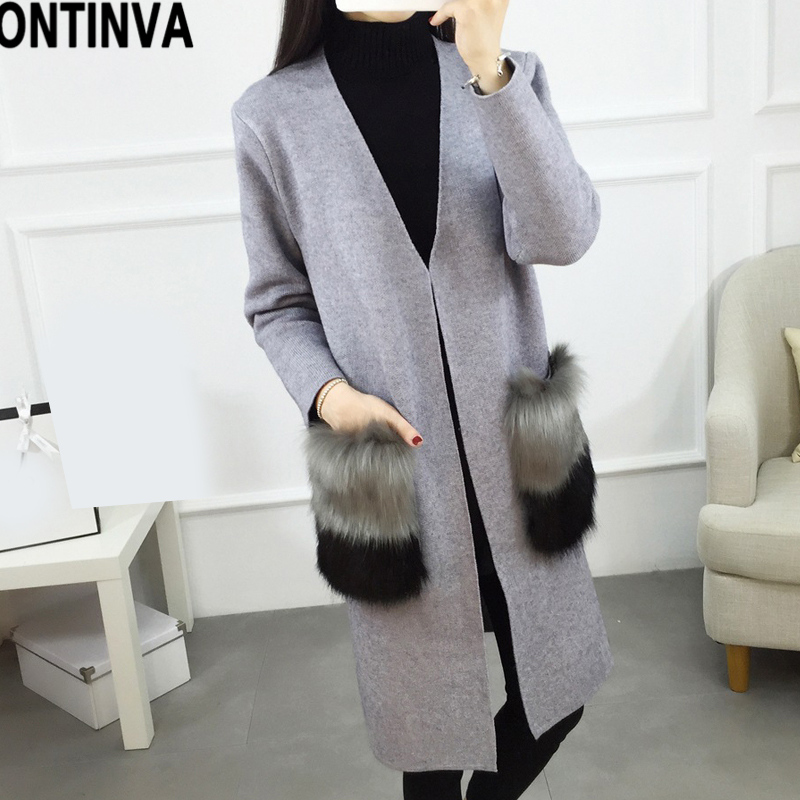 Women 2018 Fall Winter Cardigan Sweater With Faux Fur Embellished