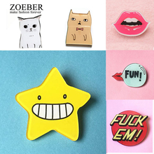 Zoeber 1 Piece Chlidren Anime Brooches Pins Bag Cartoon Cute Animal Cat Batman Acrylic Mini Brooch Icons Badges Christmas Gift