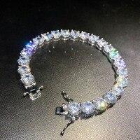 8mm Hip hop Bling Iced Out Cubic Zirconia Bracelet Tennis Chain Bracelets Women Men 1 Row CZ Link Chain Jewelry Silver