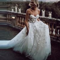 LORIE Boho Wedding Dress 2019 Appliqued With 3D Flowers Tiered Tulle Skirt A Line Beach Bride Dress White vestido de noiva