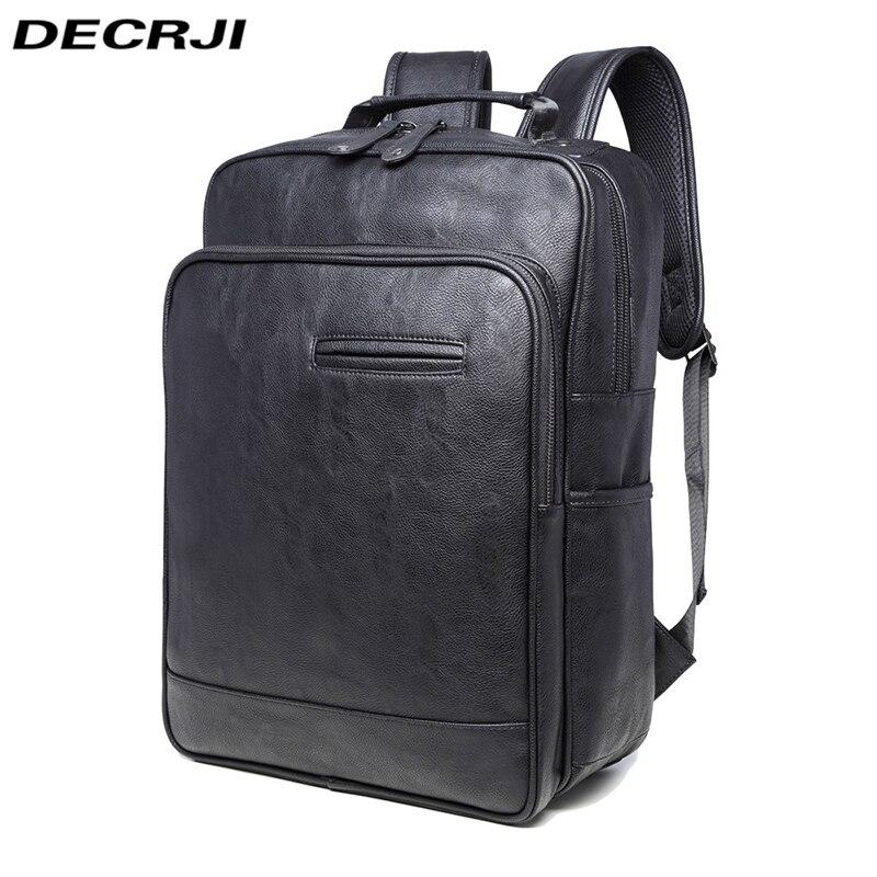 DECRJI hommes sac à dos sacs en cuir PU sac à dos sacs d'école noir imperméable voyage homme sacs à dos Mochila Masculina sac à dos 2018