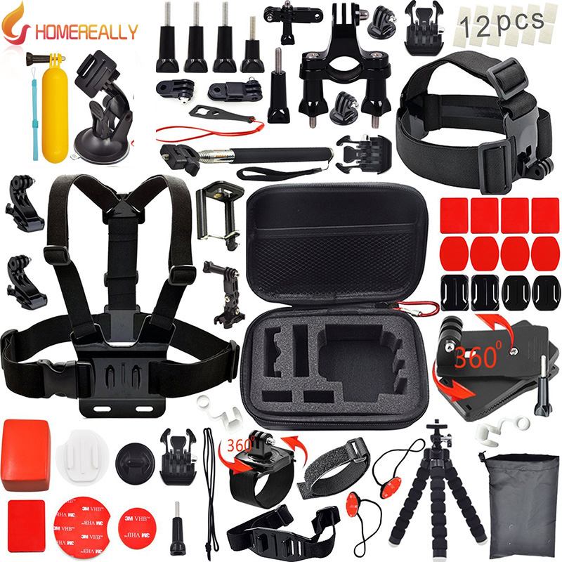 HOMEREALLY Gopro accessoires Set tête sangle poitrine support pour Gopro Hero 5 4 3 4 Session SJCAM SJ4000 SJ5000 SJ7Xiaoyi 4 K M10 M20