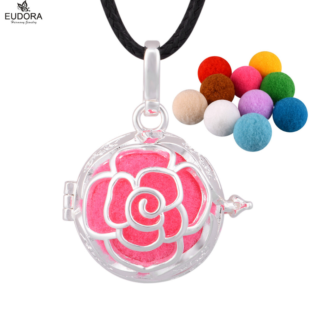 5PCS Fashion Flower Hollow Out Aromatherapy Locket Cage 18mm fit Colorful Pompon Ball Bola Pendant Necklace Women Jewelry