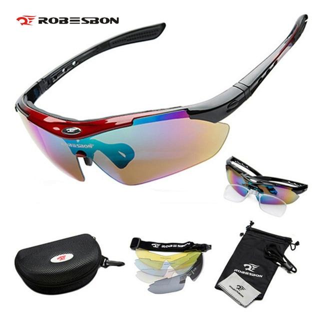 07b60d0491 ROBESON profesional al aire libre deportes ciclismo bicicleta gafas de sol  UV400 4 lentes de gafas