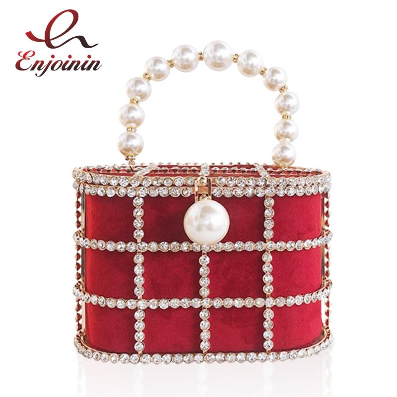 Hot High Quality Openwork Basket Design Diamonds Pearls Women's Luxury Party Handbags Evening Bag Fashion Totes Bag Pouch Bosla