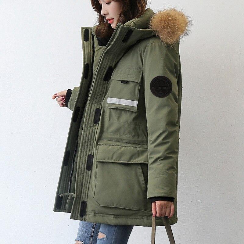Green Hiver Mode army Mid Manteau De Neuf Col rose Femme Duvet Vestes Fourrure veste Noir Length D'oie Capuche À 2018 xwZqOUBgy