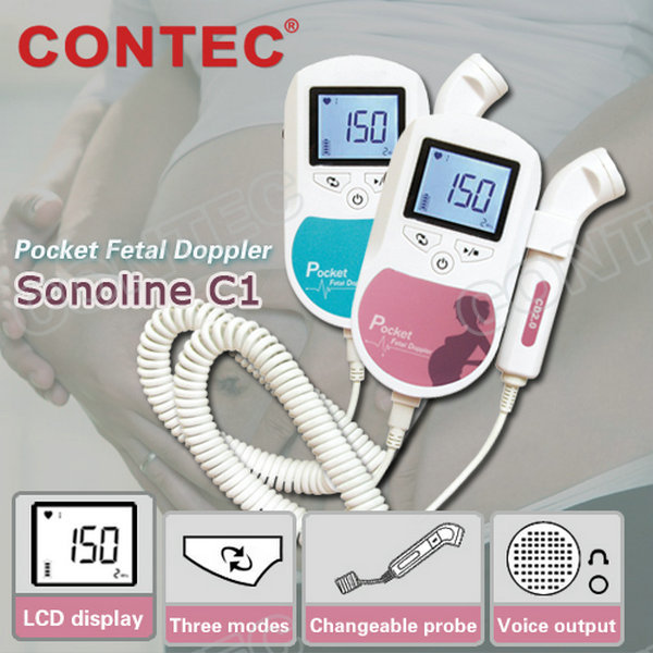 3MHz Blue Sonoline-C1 LCD Display Home Baby Fetal Doppler With Free Gel contec new pocket fetal doppler sonoline c1 with 3mhz probe in blue color ce