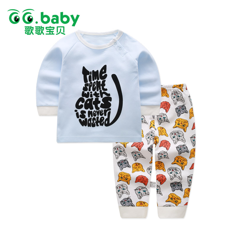 2pcs/set Spring Baby Girl Clothing Set Pajamas Cat Print Baby Sets Newborn Baby Boy Clothes Set Cotton Infantil Tops Pants Suit newborn baby boy girl 5 pcs clothing set cotton cartoon monk tops pants bib hats infant clothes 0 3 months hight quality