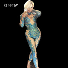 Skinny Blue Crystals Jumpsuit Female Singer Dancer Stones Costume One-piece Bodysuit Nightclub Oufit Party Leggings yellow tiger pattern printed sexy jumpsuit skinny leggings rompers nigthclub singer dancer performance stage show nude costume