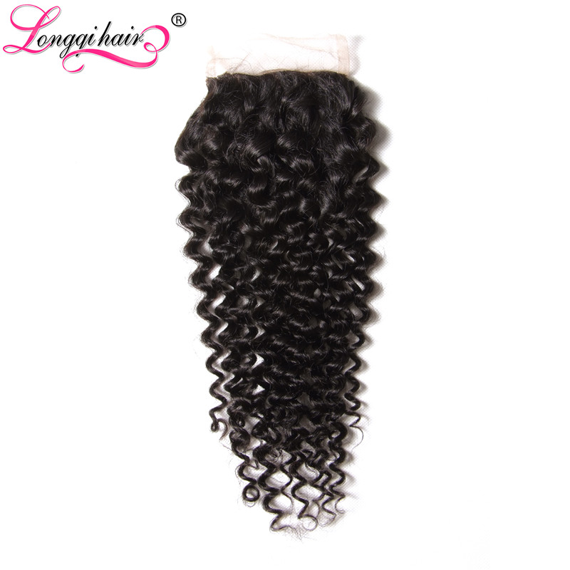 Longqi Hair Free Middle Three Part Peruvian Curly 4x4 Lace Closure Natural Color 10 20 Inch