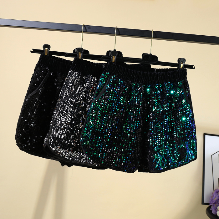 Sexy Sequin Mini Shorts Women Zipper High Waist Bodycon Hot Pants Female Ladies Fashion Nightclub Summer Short Pants
