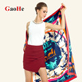 Super Large Twill Silk Women Scarf 130*130cm Euro Design Girl Handbag Belt Print Square Scarves High Quality Gift Silk Shawl