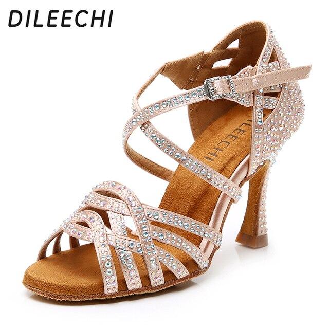 DILEECHI zapatos de baile latino con diamantes de imitación para mujer, zapatos de salón de Salsa, Cuba, tacón alto de 9cm, Software de Vals, gran oferta, bronce piel