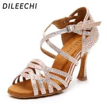 Dileechi 라인 석 라틴 댄스 신발 여성 살사 볼룸 신발 쿠바 하이힐 9cm 왈츠 소프트웨어 신발 핫 세일 스킨 브론즈