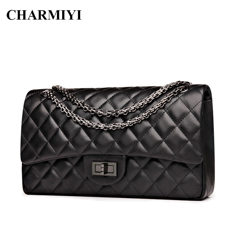 ФОТО CHARMIYI High Quality Leather Women Shoulder bag Famous Brands Designer Women Messenger bags Fashion Chain Ladies Crossbody Bags